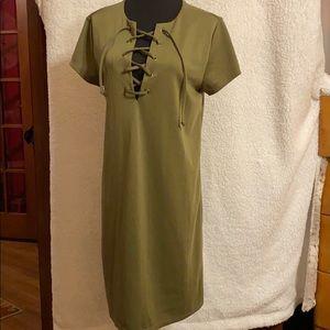 Olive Shift Dress NWOT Size 12